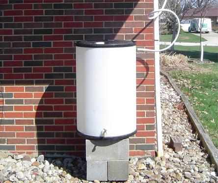 Rain Barrel using a Garden Water Saver diverter
