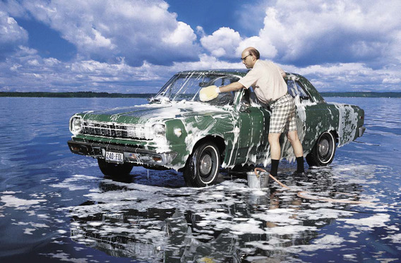 Wash your car at a commercial car wash instead of in your driveway to avoid detergent in the storm drain.